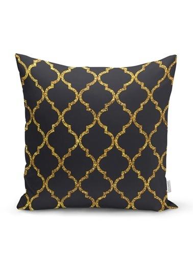Real Homes Gold Detaylı Ogea Desenli Dekoratif Modern Yastık Kırlent Kılıfı Renkli